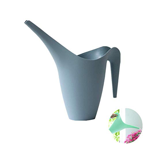 XIZHI Plastic Watering Can - 1.8 L Easy Pour Watering Pot with Long Spout for Bonsai Indoors and Outdoors Blue (Haze Blue)