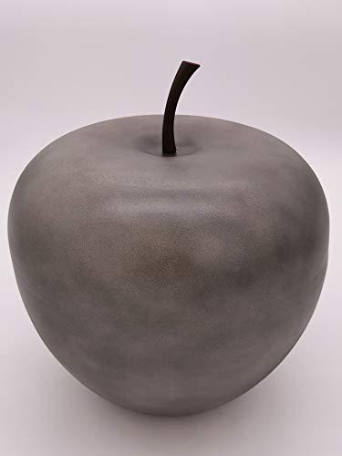 Deko-Apfel XXL aus Leicht-Zement in Anthrazit 33cm x 39cm- Für den Innen- und Außenbereich - Tolle Dekoration für Garten, Balkon oder Terrasse - Absolut FROSTFEST und WITTERUNGSBESTÄNDIG