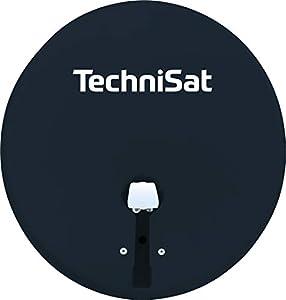 TechniSat TechniTenne 60 - Antena parabólica (60 cm, Antena satélite Digital con Soporte para mástil y LNB Doble Universal para hasta Dos participantes), Color Gris con LNB Doble Antracita