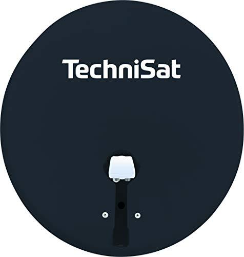 TechniSat TECHNITENNE 60 Satelliten-Schüssel für 2 Teilnehmer (60 cm digital Sat Anlage, Komplettset aus Antenne mit Masthalterung und Universal-Twin-LNB) anthrazit