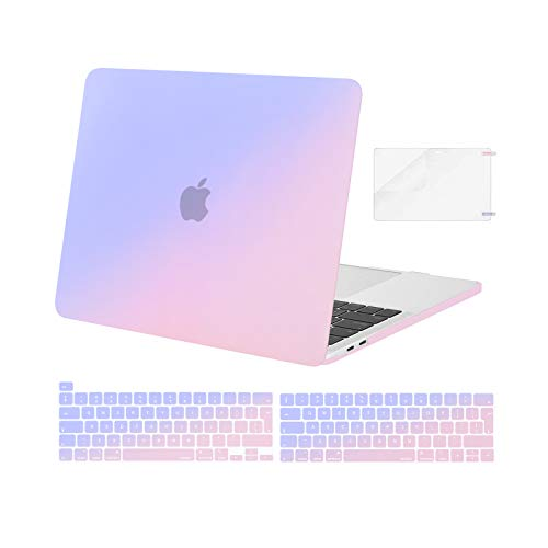 MOSISO Compatible with MacBook Pro 13 inch Case M1 2016-2020 Release A2338 A2289 A2251 A2159 A1989 A1706 A1708, Plastic Gradient Hard Shell Case & Keyboard Cover Skin & Screen Protector, Blue