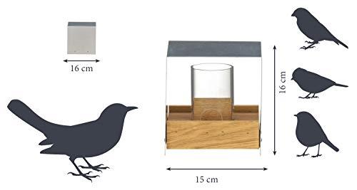 Luxus-Vogelhaus 46861e Eichenholz Vogelfutterhaus mit Ständer, Aluminiumdach, Futtertablett aus Eiche und Futtersilo - 6