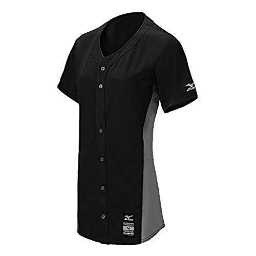Mizuno Damen 350581.9091.05.M Pro Full-Button Game Jersey, schwarz/grau, Medium