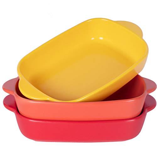 Monamour Juego de 3 platos individuales para hornear de 20 onzas – 19 cm x 13 cm rectangular de cerámica mate pequeña con asas para cazuela, lasaña, pollo, verduras, brownies – colores surtidos 02