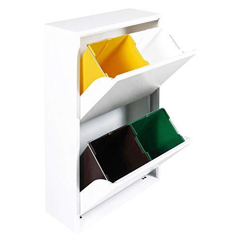 Dmora Pattumiera portarifiuti salvaspazio per differenziata con Quattro secchi, Colore Bianco, cm 60 x 92 x 25