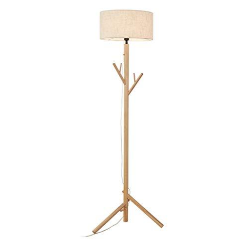 Lámparas de Pie Lámpara de Piso Luz de Pie Nordic Lámpara de pie de madera Percha de pie lámpara de luz Árbol alto de pie con pantalla de tambor for sala de estar Sofá cabecera del dormitorio Lámpara