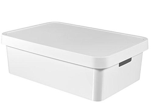CURVER 233758 Bac Infinity avec Couvercle, Plastique, Blanc, 56,5 x 39 x 18 cm
