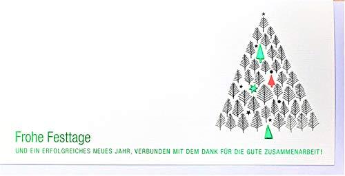 Din lang Firmen-Weihnachtskarte Zusammenarbeit Weiß Grün