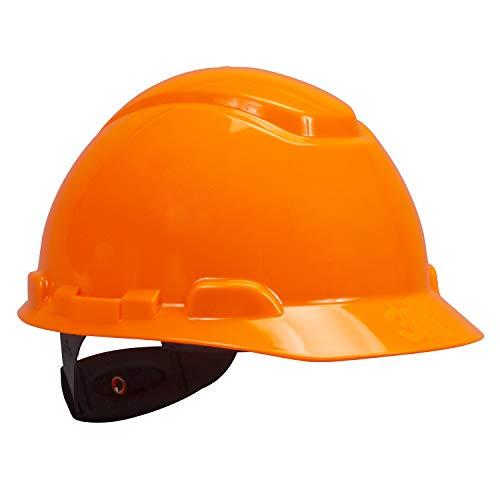 3M Hard Hat, Hi-Vis Orange, Lightweight, Adjustable 4-Point Ratchet, H-707R