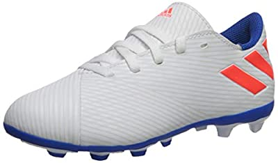 adidas Unisex-Kid's Nemeziz Messi 19.4 Firm Ground J Soccer Shoe, White/Solar Red/Football Blue, 3.5 M US Big Kid