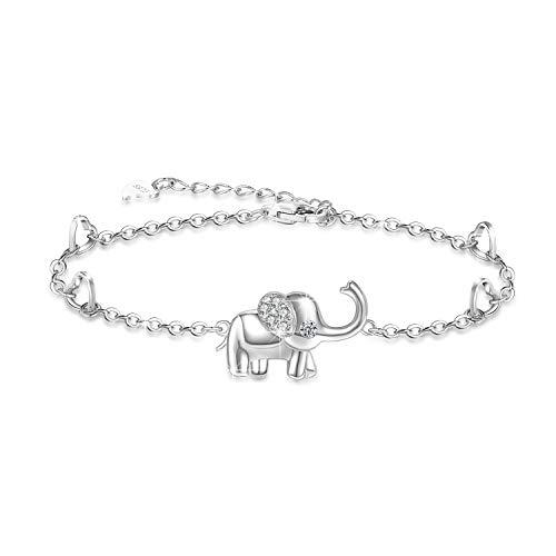 Tobillera con forma de elefante, tobillera de plata de ley joyería para mujeres regalos, tobillera ajustable (pulsera grande)