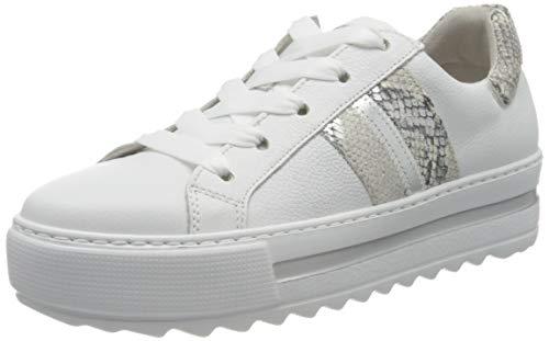 Gabor Damen Comfort Basic 46.495 Sneaker, Weiß (Weiss/Creme/Silber 52), 39 EU