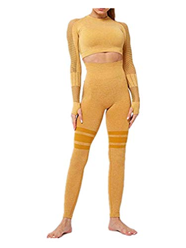 SUMTTER Sportanzug Damen Sexy Yoga Outfit Langen Ärmel Top + Lange Hose Leggings Sexy Jogginganzug Trainingsanzug Slim Fit