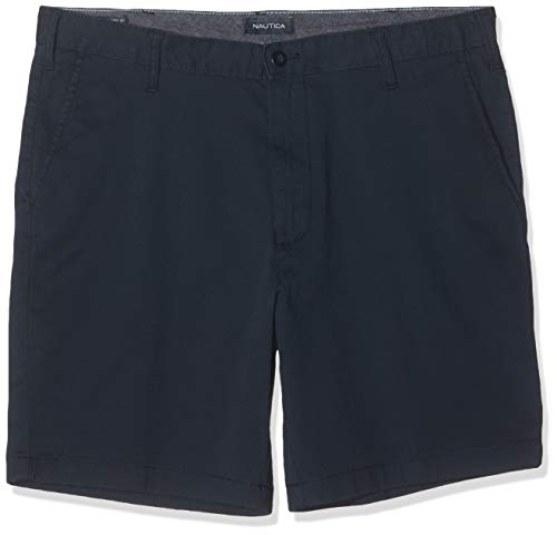 Nautica Men's Classic Fit Flat Front Stretch Solid Chino Deck Short, True Navy, 44W
