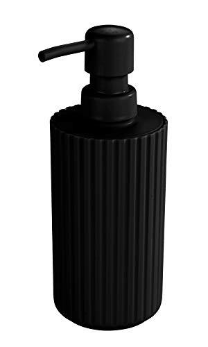 Allstar Dosificador de jabón Minas negro - Dispensador de jabón líquido Capacidad: 0.28 l, Polipropileno, 7 x 18 x 7 cm, Negro