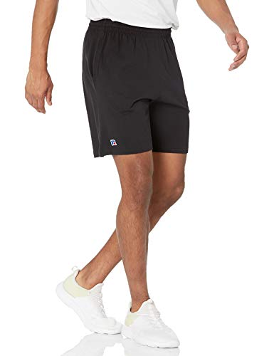 Russell Athletic Men's Premium Ringspun Cotton Short with Pockets, Black, Large