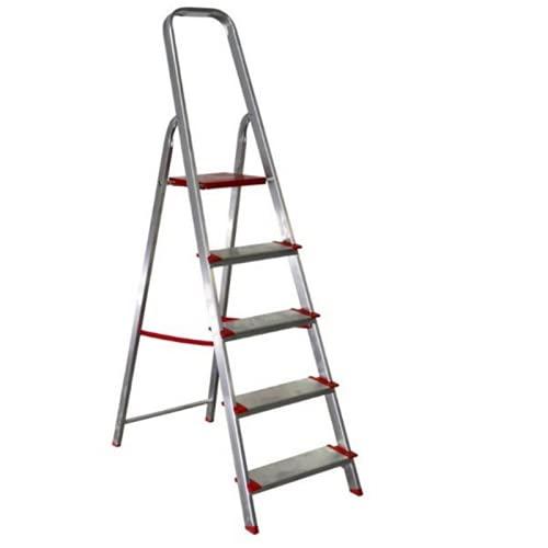 Escalera de Aluminio doméstica Resistente, Apertura en Tijera, Plegable, con Cinta de Seguridad y peldaños de 12cm antideslzantes, 2 PELDAÑOS(1 peldaño+ Plataforma)