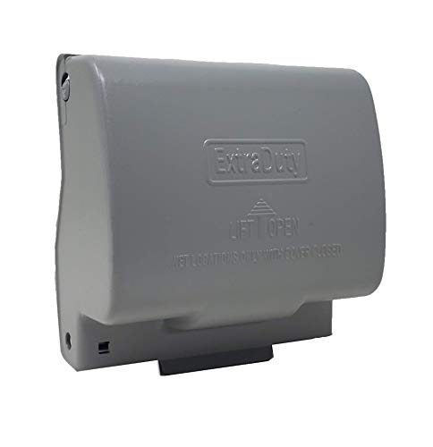 1-Gang Horizontal Metal Weatherproof Lockable While In Use Outdoor Outlet Receptacle Cover, 7-in-1 Configurations