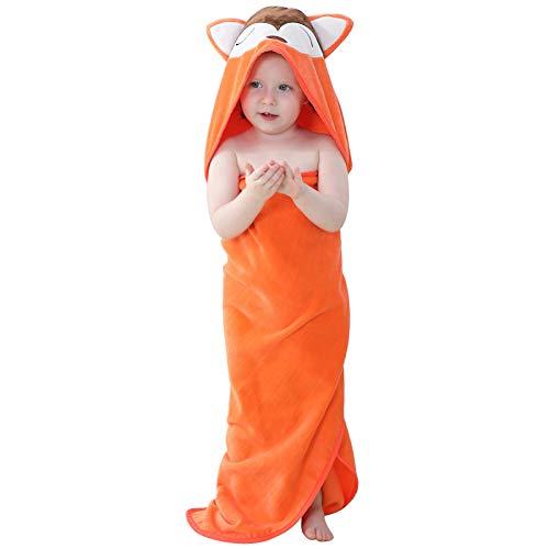 MICHLEY Baby Kapuzenbadetuch Kinder Mädchen Bademantel 90x90cm Baumwolle Tier Badetücher fit für 0-6 Jahre(Fuchs)
