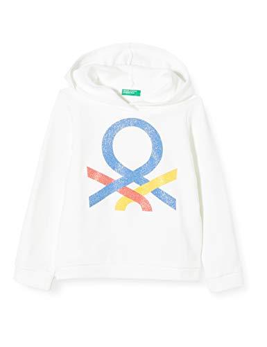 United Colors of Benetton Mädchen Felpa Kapuzenpullover, Weiß (Bianco 101), 104 (Herstellergröße: XX)