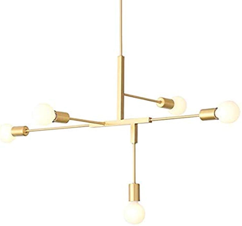 EUJEID Sputnik-Kronleuchter, Moderne Einfache 5-Licht-Metall-Semi-Embedded Gold Pendelleuchte Für Wohnzimmer Schlafzimmer Restaurant Deckenlampe, Gold
