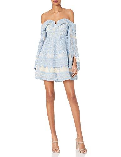Elliatt Women's Apparel Women's Antoinette Off The Shoulder Strapless BABYOLL LACE Dress, Sky, L