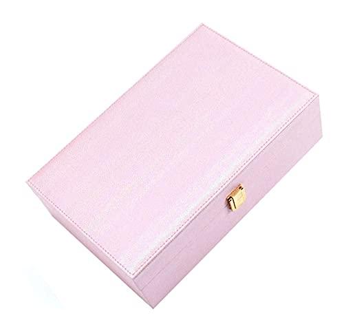 WHZG Caja joyero Caja de joyería, ranura multifunción Organizador de joyería de terciopelo con cerradura, caja de exhibición de joyas para collar, pulseras, anillos, pendientes, relojes Organizador Jo