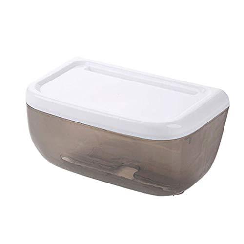 zlw-shop Caja de Pañuelos Caja de pañuelos Impermeable sin Perforaciones Inodoro Bandeja de Inodoro Bandeja de baño Rollo de Papel Papel Toallero Dispensador Pañuelos (Color : Black)