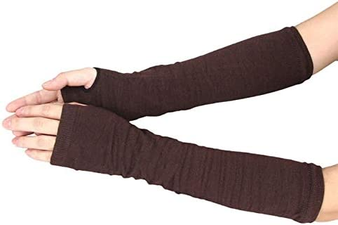 Arm Hand Gloves Winter Touch Screen Solid Mittens Winter Warm Mittens Knitted Fingerless Handschoene 30SR21 - (Color: Coffee, Gloves Size: One Size)