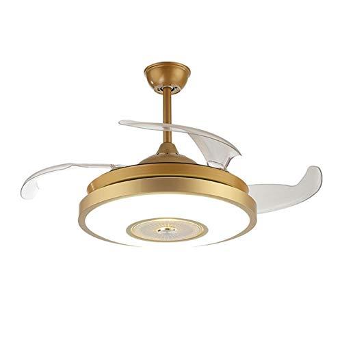 Araña de sala de estar y dormitorio con ventilador, luz invisible de la luz del ventilador, lámpara de ventilador de LED de hogar creativo, ventilador de techo multifuncional con brillo ajustable y ve