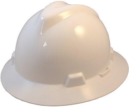 MSA 475369 V-Gard Slotted Full-Brim Hard Hat, with 4-point Fas-Trac III Suspension, Standard, White