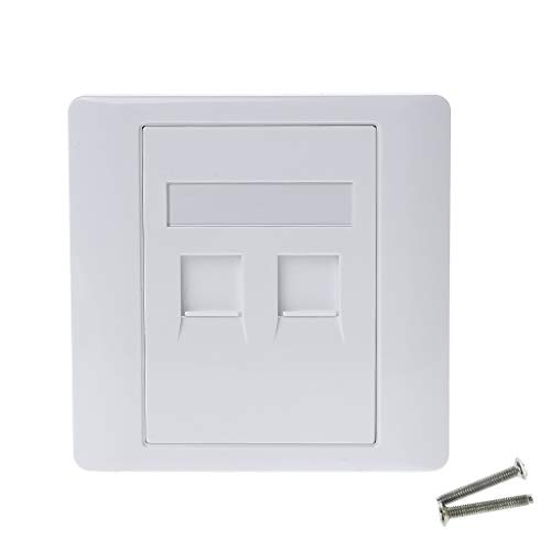 86 - Placa frontal para pared (2 puertos, red LAN, teléfono RJ45, cable ethernet)