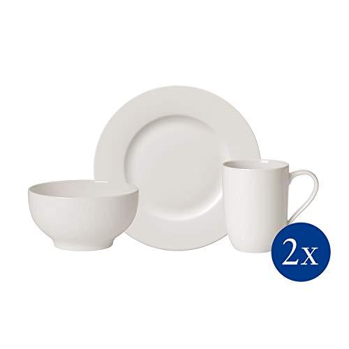Villeroy & Boch - For Me Frühstücks-Set, 6 tlg., das Allround-Talent, Premium Porzellan, spülmaschinen-, mikrowellengeeignet, weiß