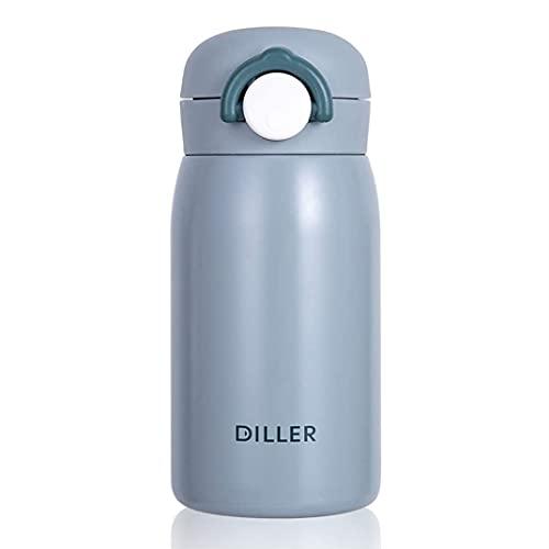DFCV Botella de Agua Botellas Frasco Mujeres Pequeño Lindo 320ml Acero Inoxidable Aislado Aislado Térmico Caliente Frío Botella de Agua con Deportes de Paja Frasco de vacío frío (320ml, Azul)