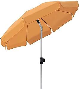 MVPower Ombrellone da Spiaggia, Ø 200 cm Ombrellone Rotondo UV UPF 50+, Ombrellone Inclinabile, per Il Giardino Esterno della Spiaggia Balcone, 200 g/m², Arancia