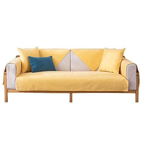 kinfuki Cover Durable Furniture Protector Soft Stretch,Fabric Anti-slip Sofa Cushion Cover Towel Cover (Free 2 Pillow Cases)-Yellow_90*90