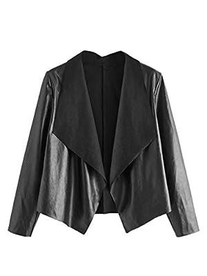 SheIn Women's Waterfall Collar PU Leather Jacket Open Front Long Sleeve Bolero Small Black by