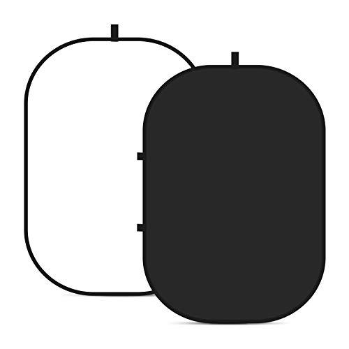 Neewer 10087547 - 150 cm x 200 cm doble cara Twist Pop Out muselina telón de fondo fondo panel con funda de transporte para fotografía Studio grabación de vídeo (negro/blanco)