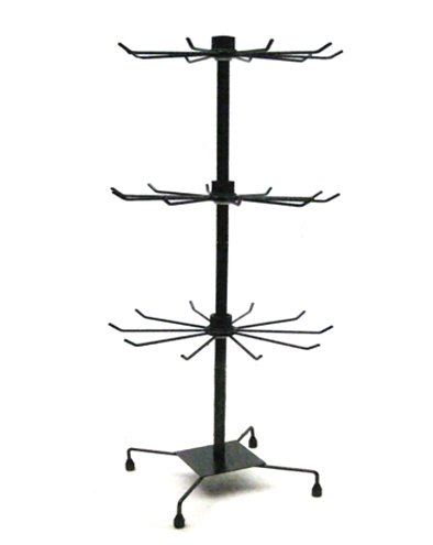 Yudu Expositor de 3 pisos (metal, 73 cm), color negro