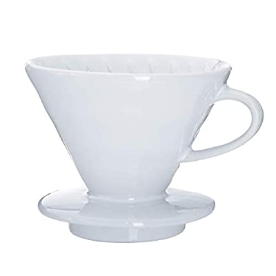 Kajava Mama Pour Over Coffee Dripper - Ceramic Slow Brewing Accessories for Home, Cafe, Restaurants - Easy Manual Brew Maker Gift - Strong Flavor Brewer - V02 Paper Cone Filters - White, 2 Cup