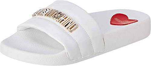 Love Moschino Mädchen Sabotd.pool25 Vernice Pu Pantoffeln, Weiß (White Soft 100), 35 EU