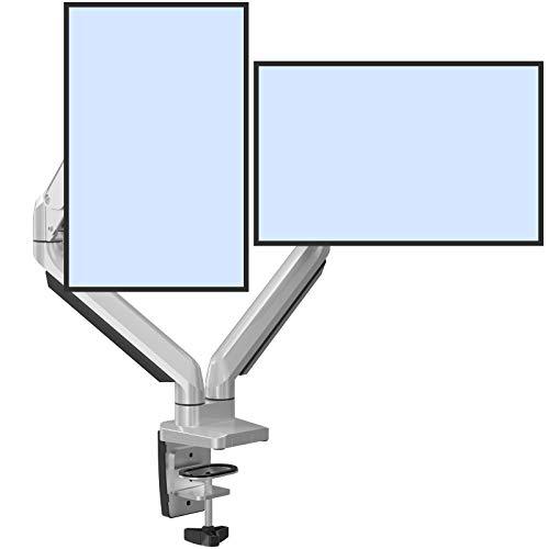 ErGear 13-32 Zoll Monitor halterung für 2 monitore Innovativer Gasfeder technologie Bildschirm halterung Vollbereichs-Bewegungs neigung ±45° Schwenkung 180° Drehung 360° VESA 75/100mm Gewicht Max 8KG
