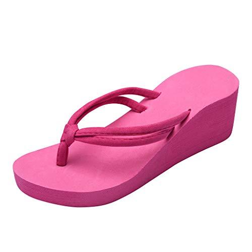 Damen Flip Flops Einfarbig Zehentrenner rutschfeste Füße Badelatschen mit Hohen Absätzen Badeschuhe Wedges Strand Sandalen,Pink,39 EU
