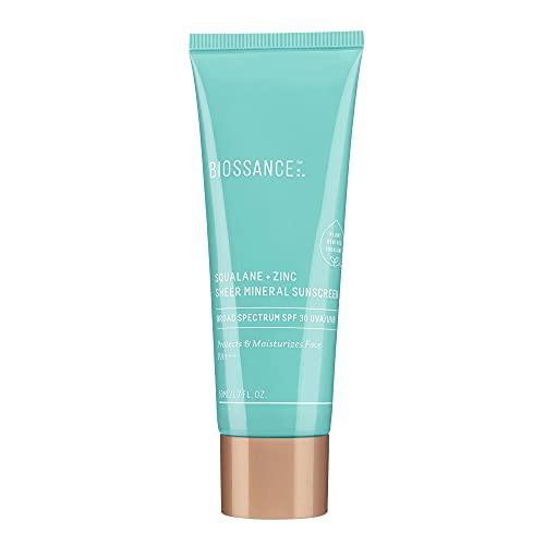 Biossance Squalane + Zinc Sheer Mineral Sunscreen. Broad-Spectrum SPF 30 PA+++ Zinc Oxide Sunscreen That Protects and Hydrates Sensitive Skin. Lightweight, Non-Greasy and Reef-Safe (1.7 ounces)