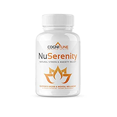 NuSerenity - Natural Stress and Anxiety Relief Supplement - Reduce Stress, Boost Mood, Increase Calm with Premium Formula of B Vitamins, Ashwagandha, Rhodiola, Bacopa, L-Theanine, 5 HTP - 60 Capsules