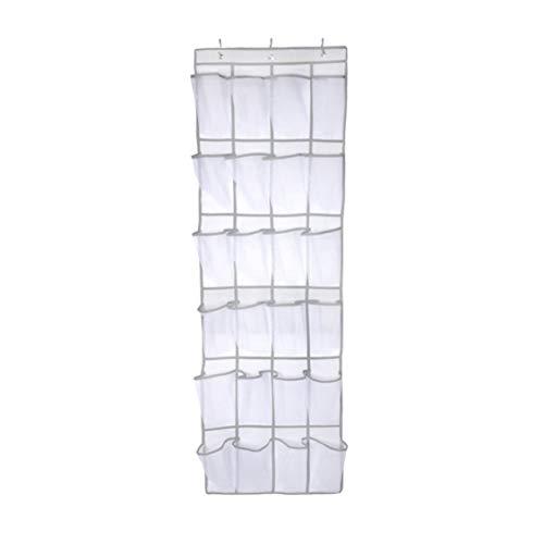 Bolsa de almacenamiento, 24 bolsillos grandes de malla Bolsa de almacenamiento colgante no tejida detrás de las puertas Estante para zapatos que ahorra espacio Accesorios para el hogar (blanco)