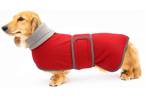 Morezi Disfraz de abrigos para perro, perfecto para perros salchichas, abrigo de invierno con forro polar acolchado y cuello alto, traje de nieve para perros con bandas ajustables - Rojo - XL