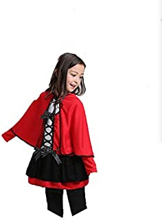 Children Girls Costume Little Red Riding Hooded Cape Cloak Dress Halloween Costume Kids Cosplay Outfits (Large)