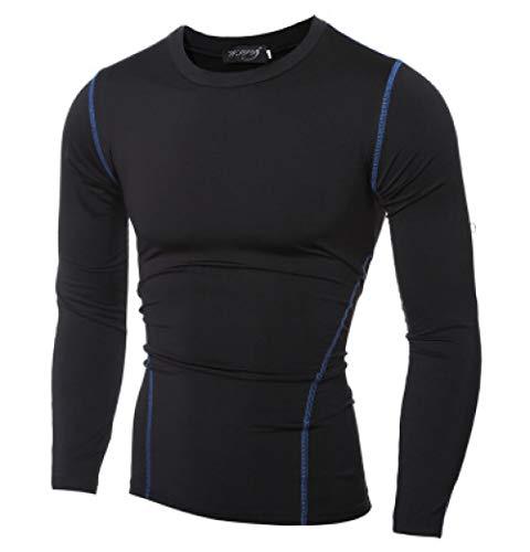 B/H Gym Running Top Workout Camisetas para Hombres,Ropa de Entrenamiento de línea para Hombre, Mallas Deportivas y Ropa de Secado rápido-Top Azul_M