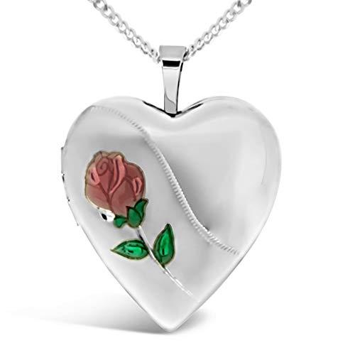 Relicario de Corazón y Rosa de Plata de Ley, con Cadena 18 pulgadas